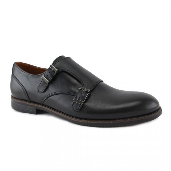 Мужские кожаные туфли-монки черные. Харьков