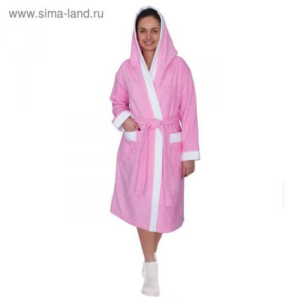 Халат женский, размер 56, белый/розовый, махра