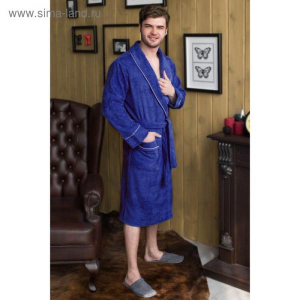 Халат мужской, шалька/кант, размер 52, синий, махра