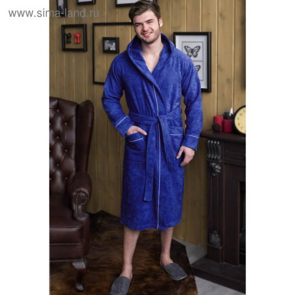 Халат мужской, капюшон+кант, размер 56, синий, махра
