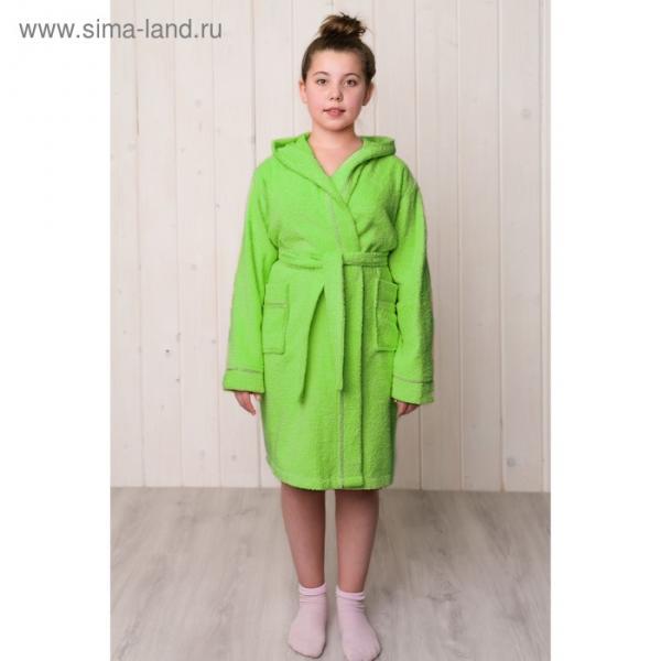 Халат для девочки с капюшоном, рост 128 см, салатовый, махра