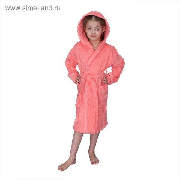 Халат для девочки с капюшоном, рост 128 см, коралловый, махра