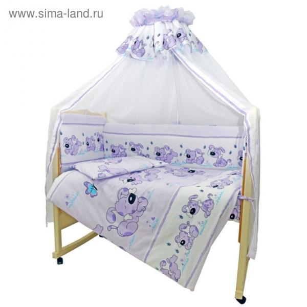 Комплект в кроватку «Дружок», 7 предметов, цвет сиреневый 730М/6