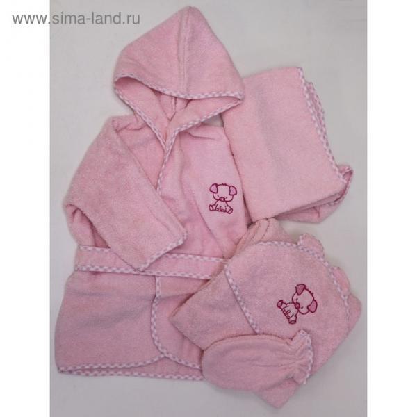 Комплект: халат, уголок. Полотенце, рукавичка, цвет розовый, махра М-4/1