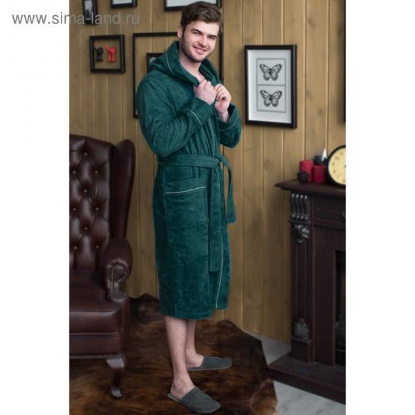 Халат мужской с капюшоном, размер 54, зелёный, махра
