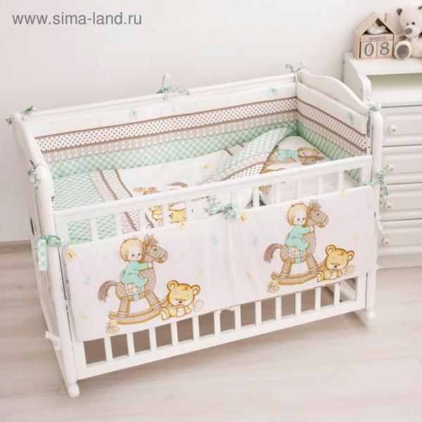Комплект в кроватку «Я люблю свою лошадку», 6 предметов, цвет мятный, бязь