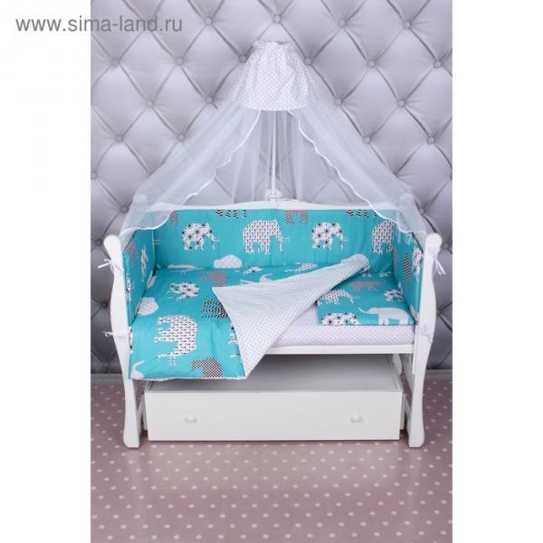 Комплект в кроватку, 7 предметов, бязь, цвет изумрудный, принт слоники