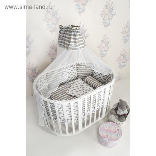 Комплект в кроватку, 18 предметов, бязь, цвет серый, принт радуга