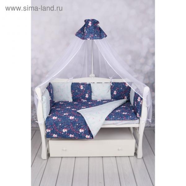 Комплект в кроватку WB, 15 предметов, бязь, цвет синий, принт лисички