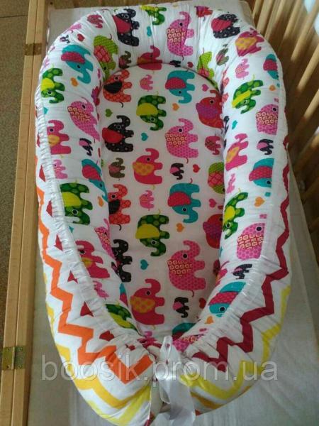 Колыбелька-кокон для новорожденных розовый слоники цветные