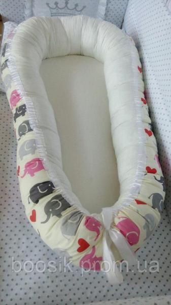 Колыбелька-кокон для новорожденных розовый слоники розовые
