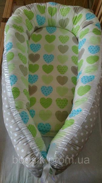 Колыбелька-кокон для новорожденных разноцветный сердечки салатовые