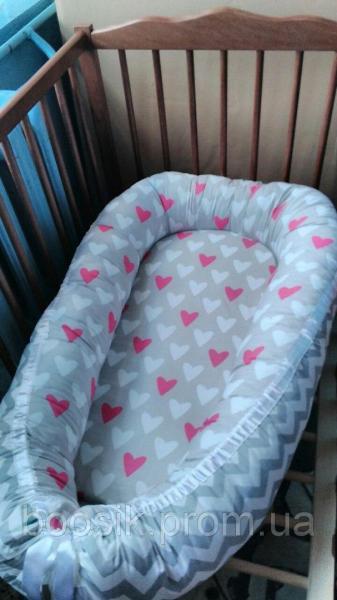 Колыбелька-кокон для новорожденных разноцветный сердечки розовые