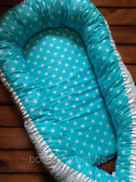 Колыбелька-кокон для новорожденных бирюзовый звезды