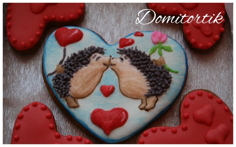 Пряник ежик (на День влюбленных, святого Валентина)