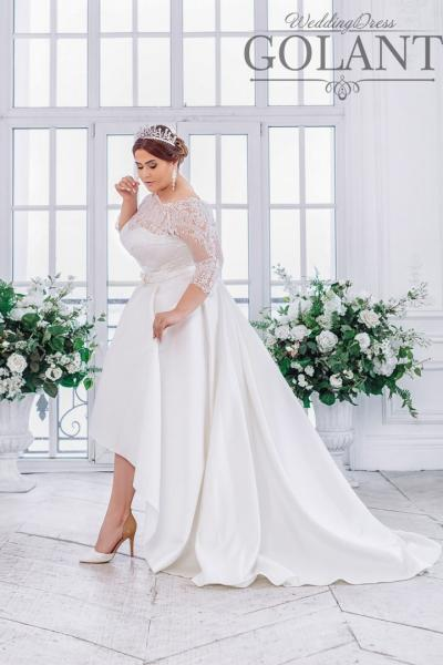 Атласное свадебное платье для полных Леда