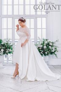 Фото Свадебные платья Атласное свадебное платье для полных Леда