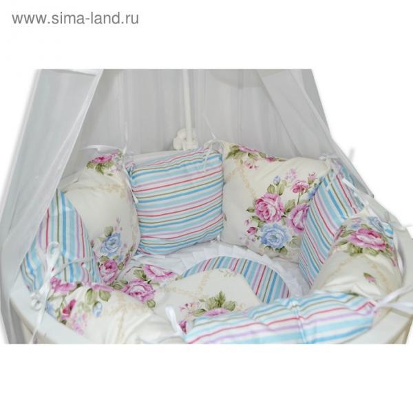 Комплект для круглой кроватки «Цветочная поляна», 22 предметов