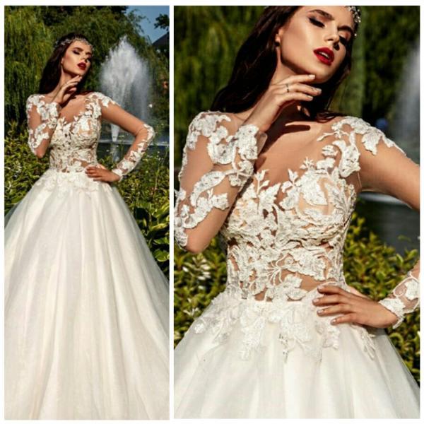 Легкое свадебное платье с прозрачными рукавами Карина