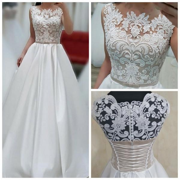 Атласное свадебное платье с карманами Мадонна