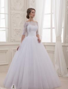 Фото Свадебные платья Пышное свадебное платье с кружевными рукавами Дива