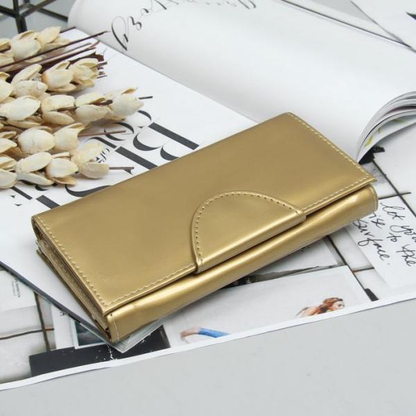 Кошелёк женский, 2 отдела рамка, 3 отдела, для карт, для монет, цвет золотой