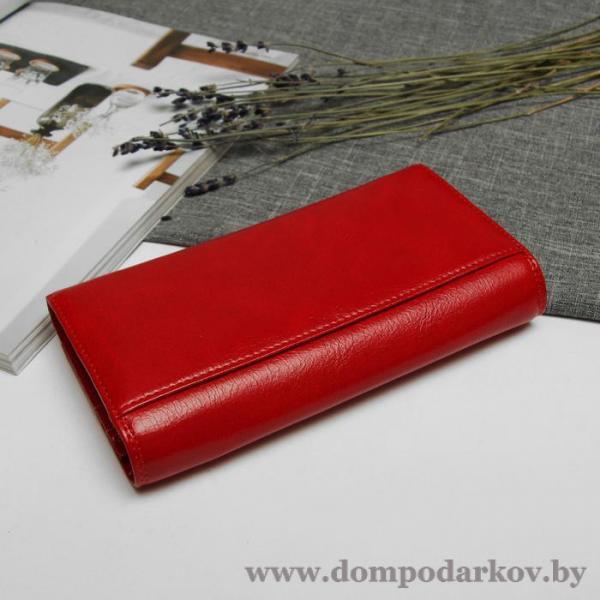 Фото Галантерея, Кошельки, Женские кошельки Кошелёк женский на магните, 2 отдела рамка, 5 отделов для кредиток, наружный карман, цвет красный