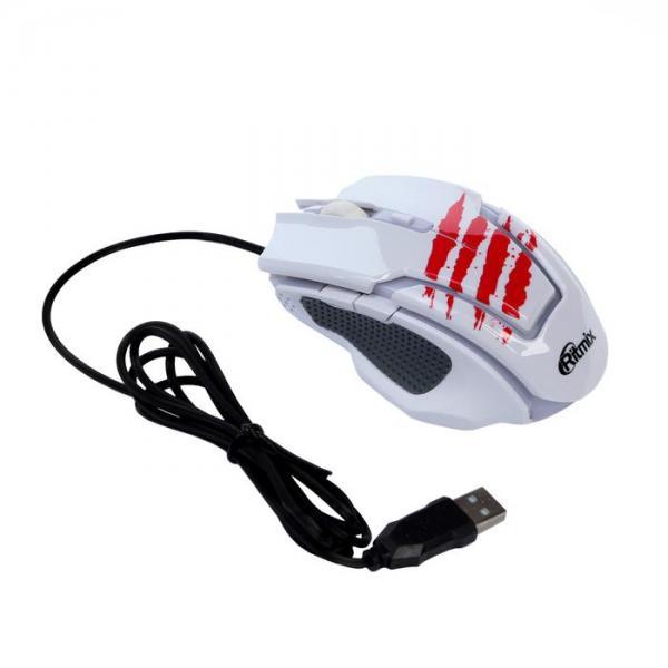 Мышь Ritmix ROM-350, игровая, проводная, оптическая, 2400 dpi, 6 кнопок, белая