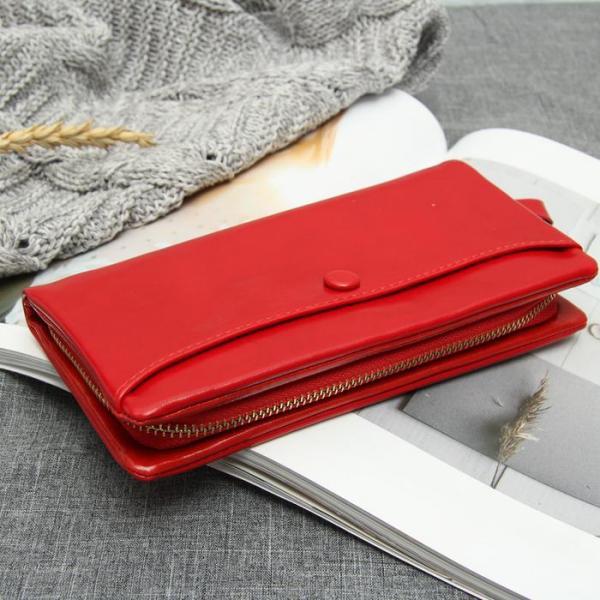 Кошелёк женский, 3 отдела, для карт, для монет, наружный карман, цвет красный