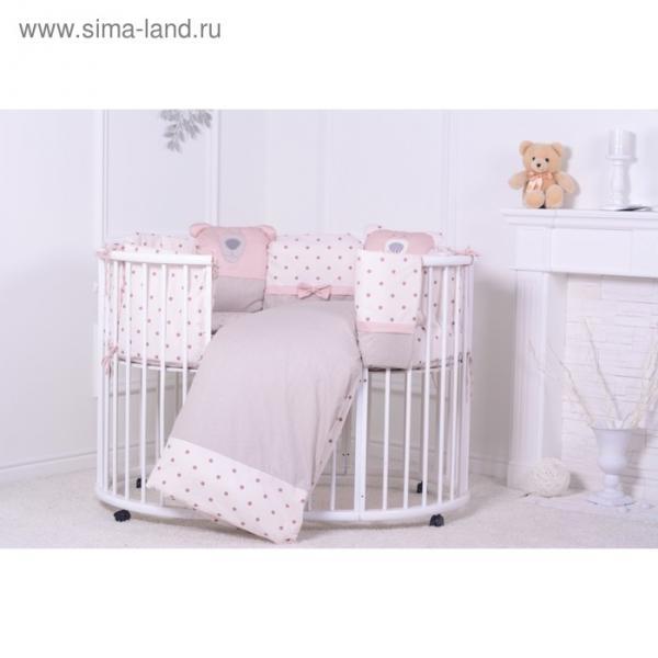 """Комплект в кроватку """"Полярный мишка"""" (6 предметов), цвет бежевый, хл100%"""