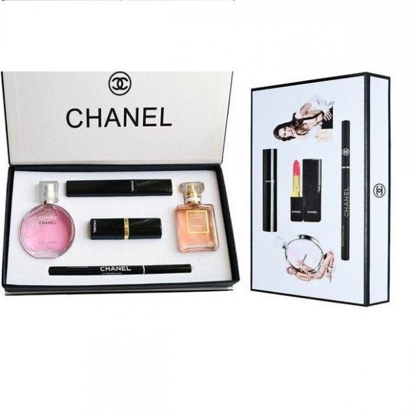 Подарочный набор CHANEL 5 в 1 (помада+тушь+карандаш+2 мини-парфюма)