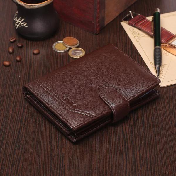 Портмоне мужское 3 в 1 (авто+паспорт), 2 отдела, для карт, для монет, цвет коричневый