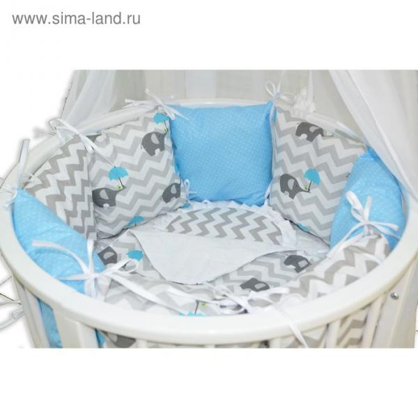 Комплект для прямоугольной кроватки «Слонёнок», 19 предметов, цвет голубой