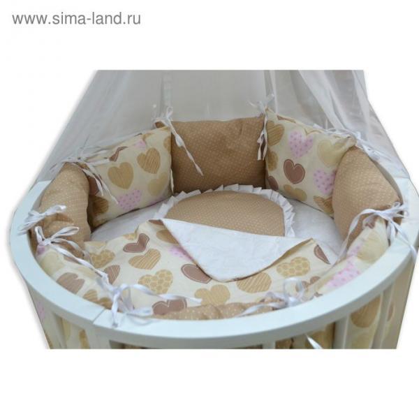 Комплект для прямоугольной кроватки «Сердечки», 19 предметов