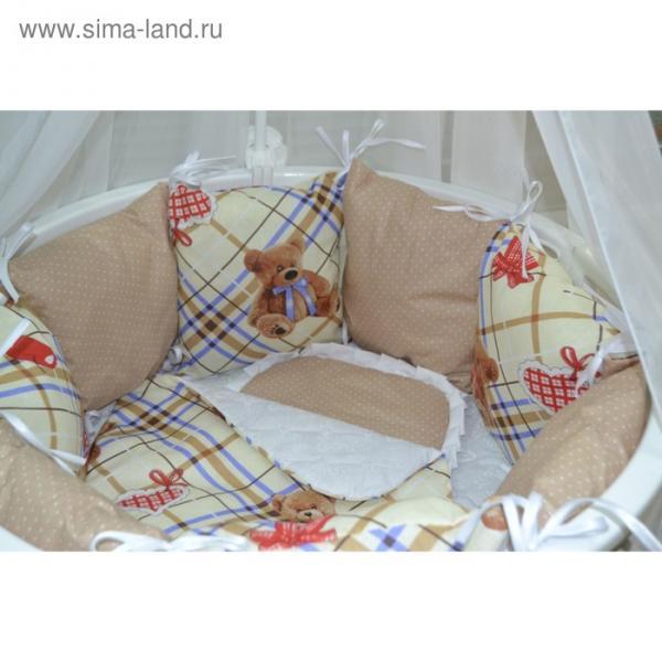 Комплект для круглой кроватки «Мишка и горох», 22 предметов