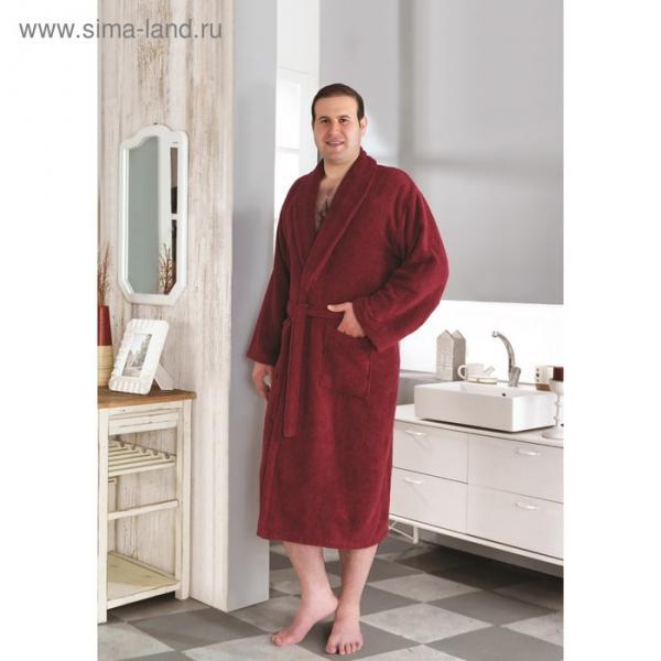 Халат махровый Smart, размер 2XL (54), цвет бордовый, 420 г/м2
