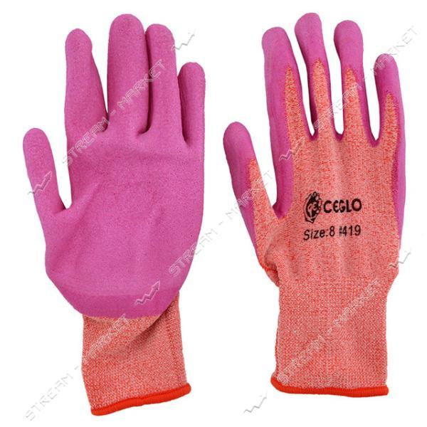 Перчатки '419' (красный/розовый) стрейч, покрытый вспененной резиной (12 пар)