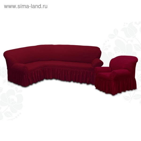 Чехол для мягкой мебели 2пред диван угловой, кресло 6055, трикотаж, 100%пэ, упаковка микс