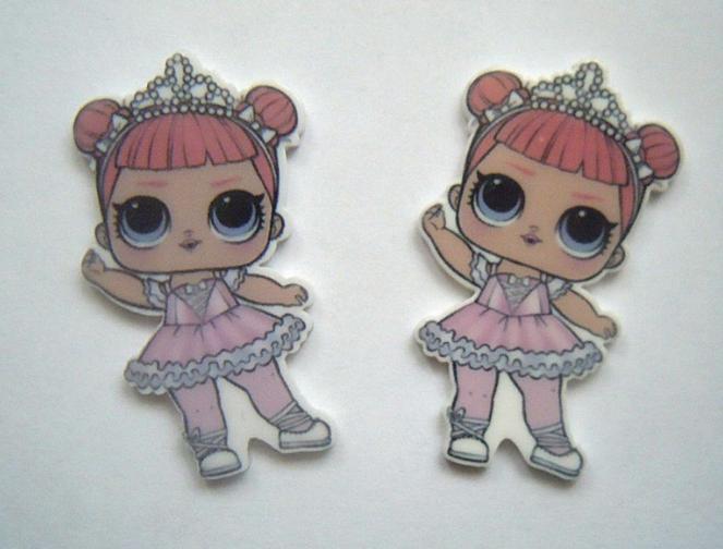 Фото Новинки Пластиковая  серединка    22 *  40 мм.  ЛОЛ  в  розовом  платье  с  короной.