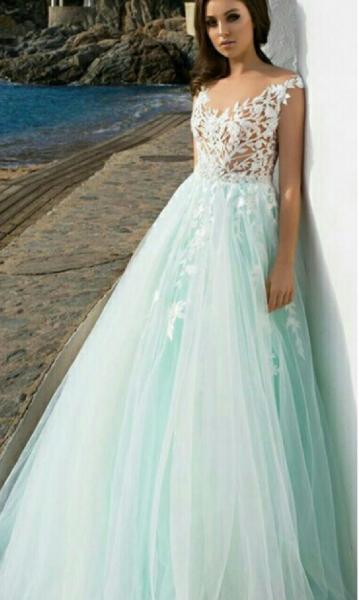 Свадебное платье цвета мята (Тиффани) Аквамарин