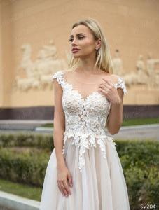 Фото Свадебные платья Легкое непышное свадебное платье пудра Олеся