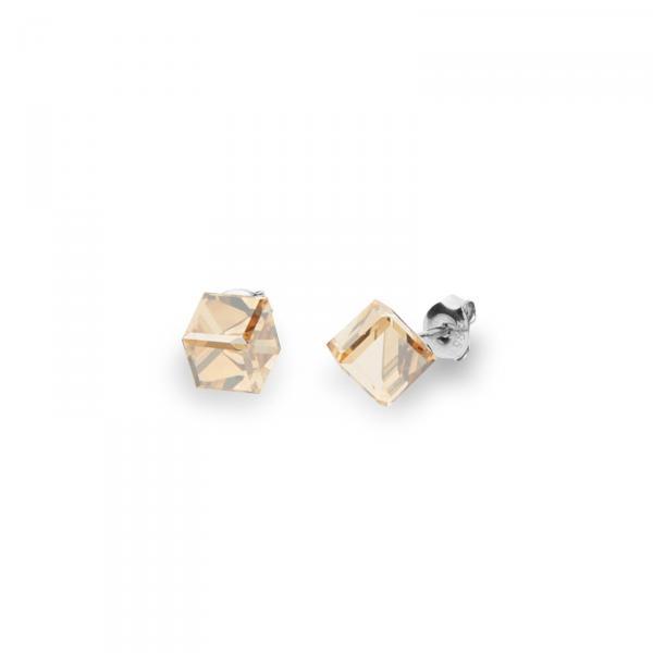 Серебряные серьги SPARK Medium Cube 6x6 мм со Swarovski модели K48416GS