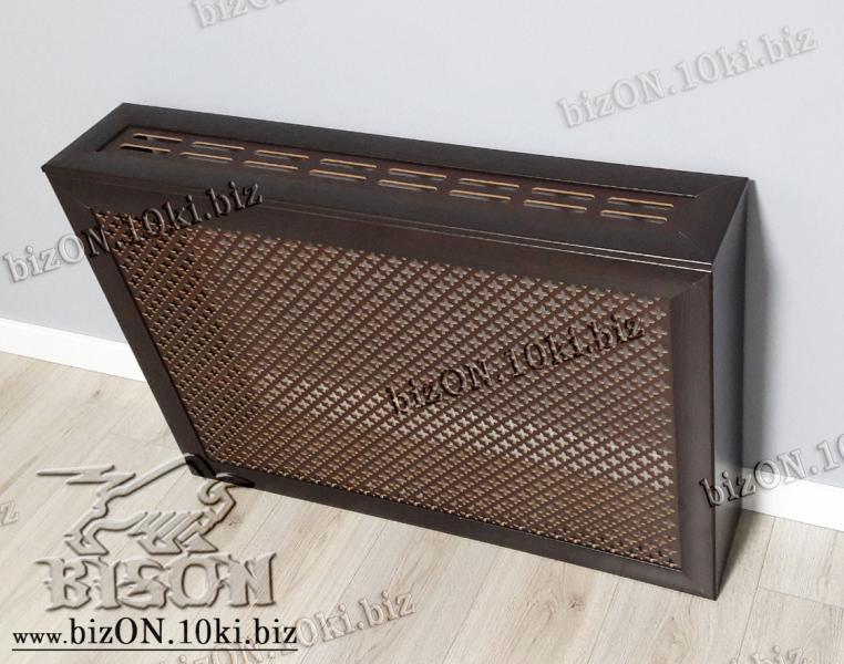 Короб для радиатора отопления 90 х 60 х 17см, перфорация «КАППА», цвет Венге (темно-коричневый), из перфорированного ХДФ (МДФ)