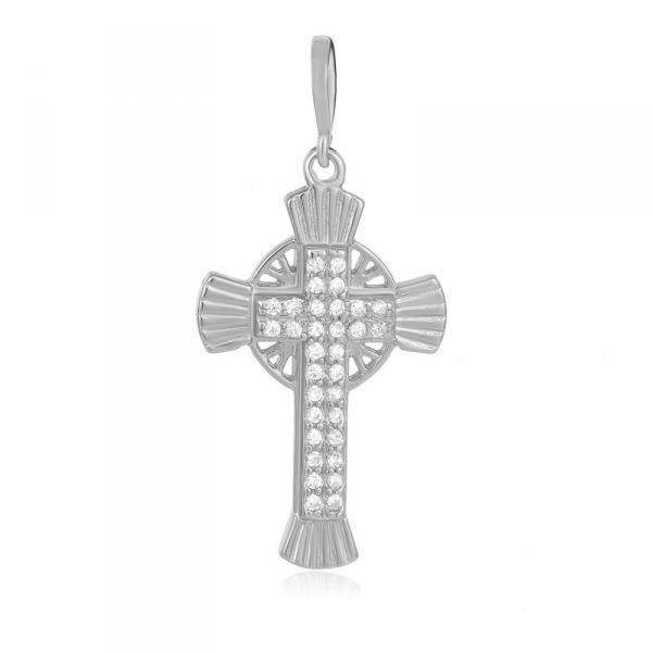 Серебряный декоративный крест Silvex925 с фианитом модели П2Ф/354