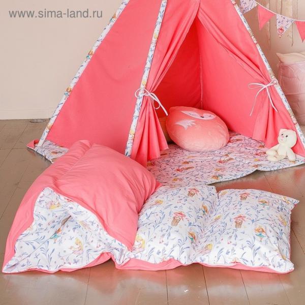 Матрасик с подушками «Милые принцессы» двусторонний 70×190 см, бязь/спанбонд