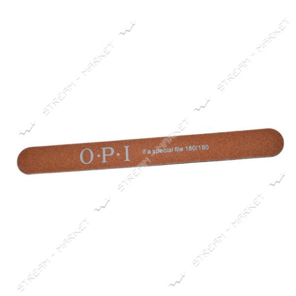 Пилка для ногтей OPI 180/180 прямая на деревянной основе