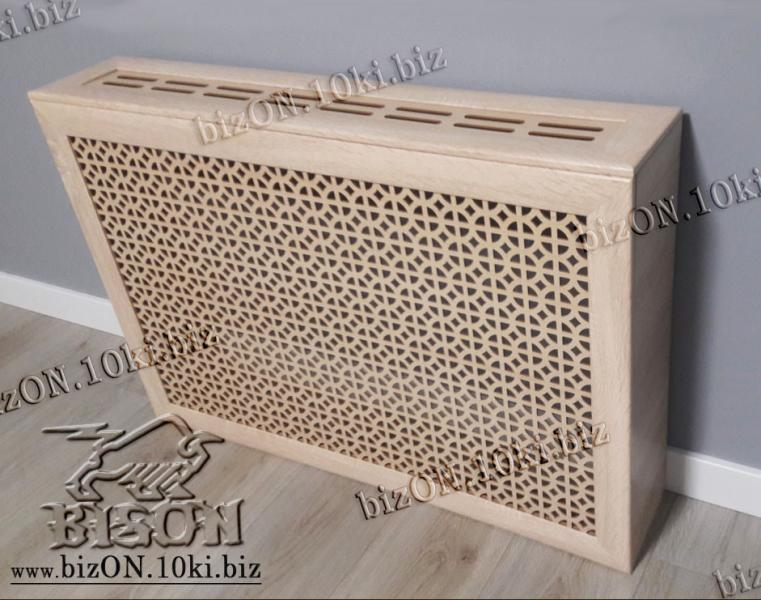 Короб для радиатора отопления 120 х 60 х 17см, перфорация «АЛЬФА», цвет Санома Дуб, из перфорированного ХДФ (МДФ)