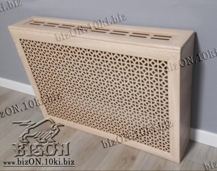 Короб для радиатора отопления 90 х 60 х 17см, перфорация «АЛЬФА», цвет Санома Дуб, из перфорированного ХДФ (МДФ)