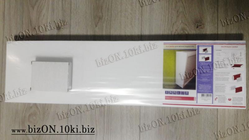 Фото Решетки ПВХ и Экраны ХДФ (МДФ) для радиаторов отопления и декора Короб для радиатора отопления 60 х 60 х 17см, перфорация «ОМЕГА», цвет Белый (Арктик), из перфорированного ХДФ (МДФ)