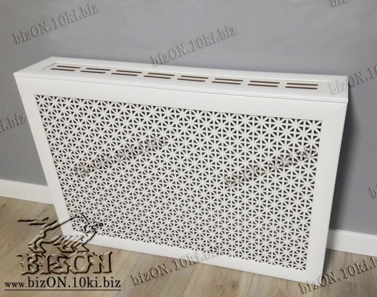 Короб для радиатора отопления 90 х 60 х 17см, перфорация «ОМЕГА», цвет Белый (Арктик), из перфорированного ХДФ (МДФ)